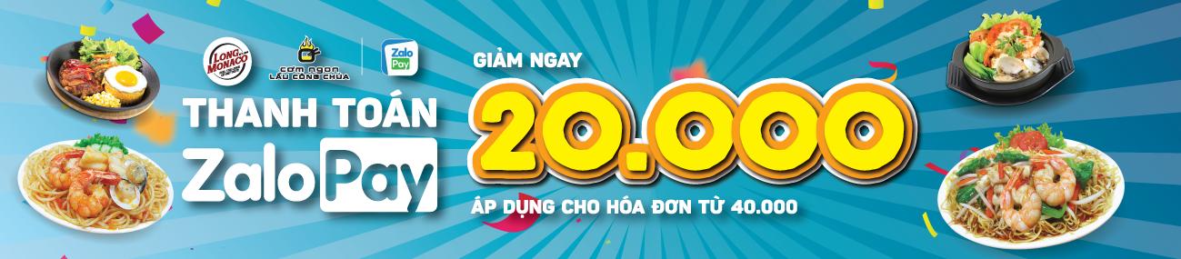 GIẢM NGAY 20.000Đ KHI THANH TOÁN ZALOPAY